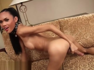 tiny Tiny sexy thai ladyboy jacks her giant dick sexy