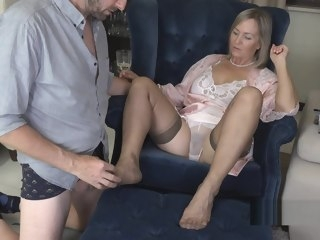 nylon Nylon Foot job until he cums. foot