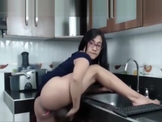 monstercock Monstercock lady-boy latin chick Jerking In The Kitchen! lady-boy