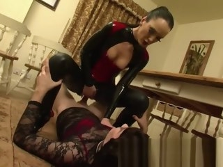 kinky KINKY WIFE IN PVC WITH CROSSDRESSING HUSBAND wife